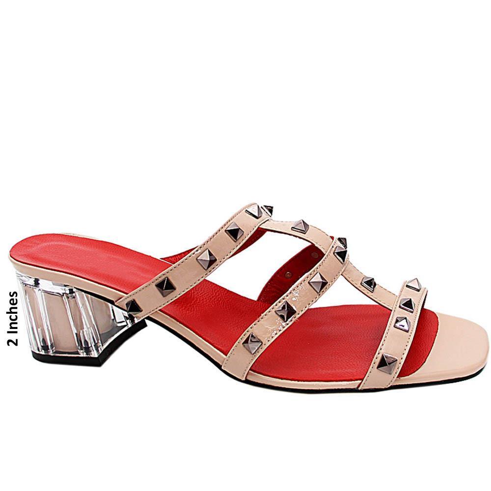 Nude Evelina Studded Italian Leather Mid Heel Mule