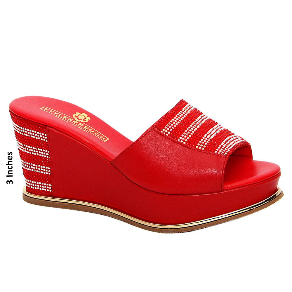 Red Paola Studded Italian Leather Wedge