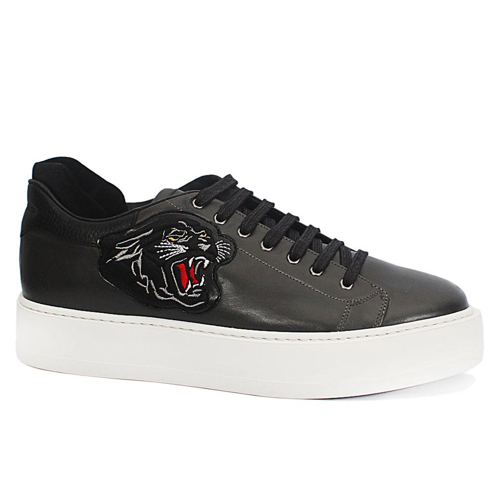 Sabatini Grey Tiger Leather Thick Sole Sneakers