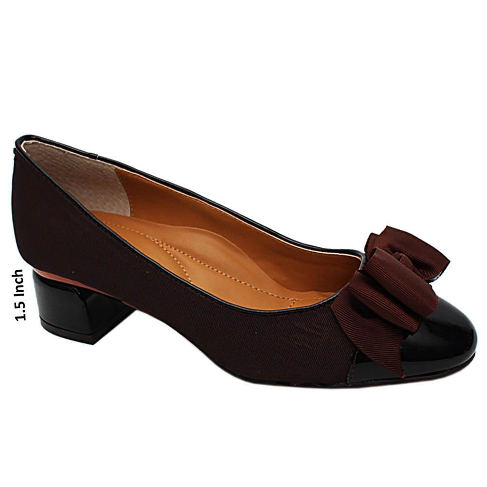 Brown Berkley Fabric Leather Low Heel Pumps