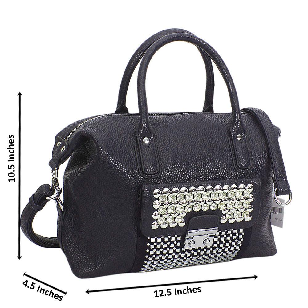 Navy Megan Studded Leather Tote Handbag