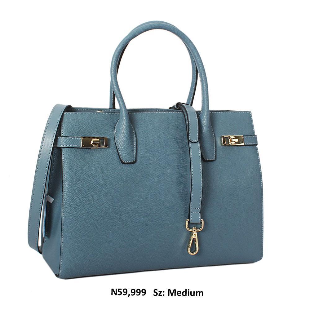 Nancy Blue Cowhide Leather Tote Handbag