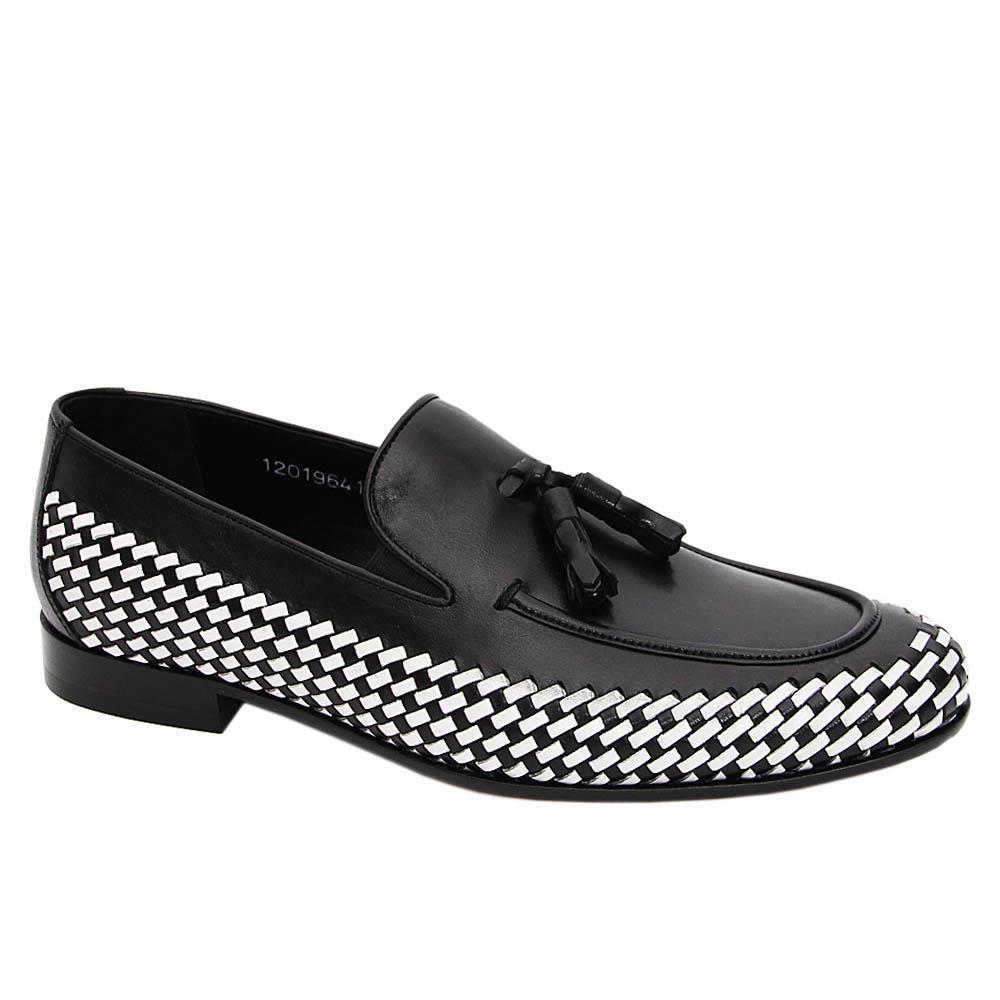 Black Guerrero Woven Italian Leather Tassel Loafers
