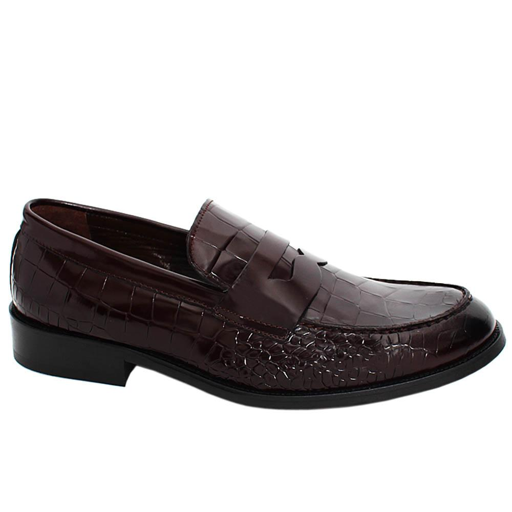 Coffee Mason Croco Styled Leather Men Penny Loafers