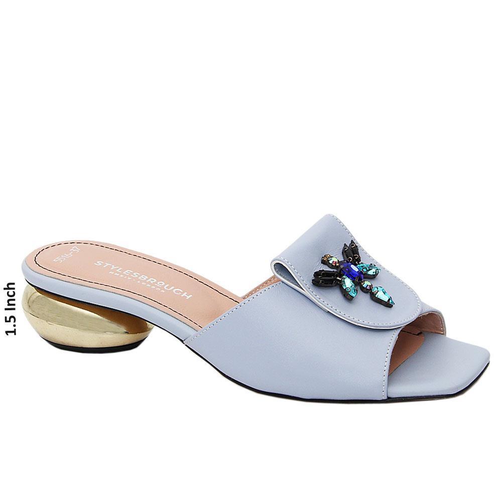 Aqua Blue Delfina Tuscany Leather Low Heel Mule