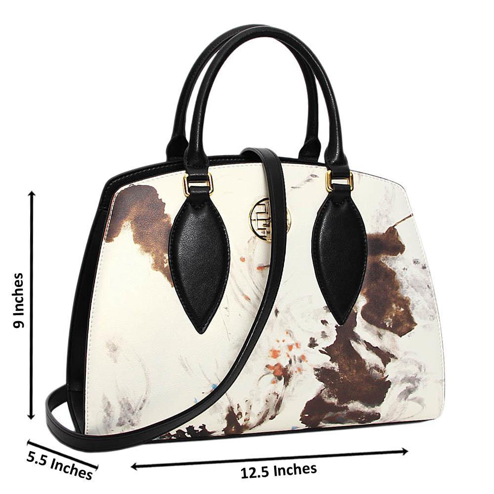 Cream Black Graphic Print Premium Leather Medium Handbag