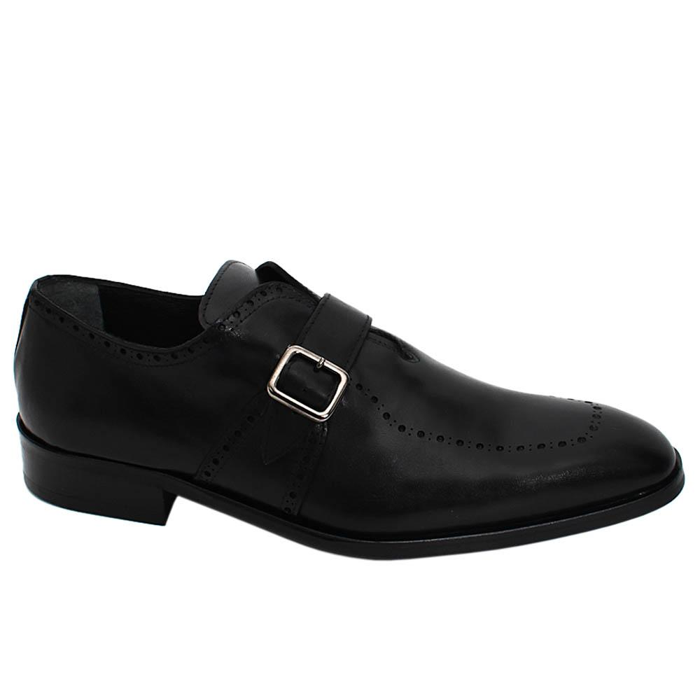 Black Adonis Dotted Leather Men Monk Strap Shoe
