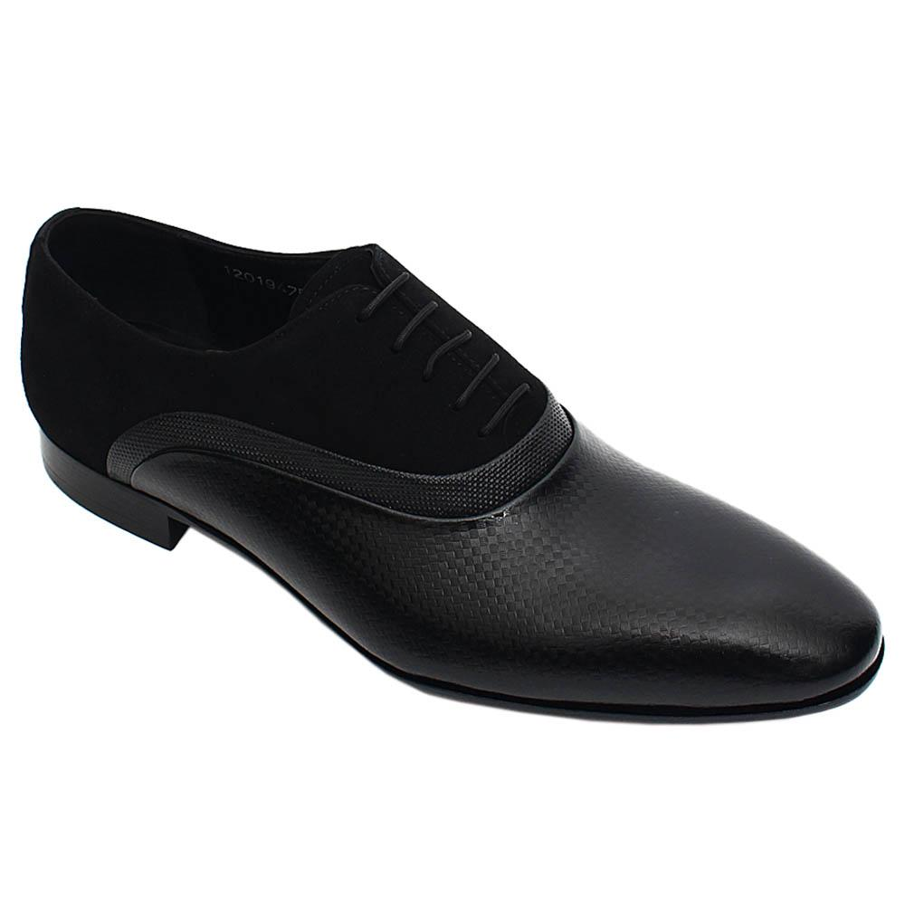 Black Ricco Mix Suede Italian Leather Lace-Up Men Oxford Shoe