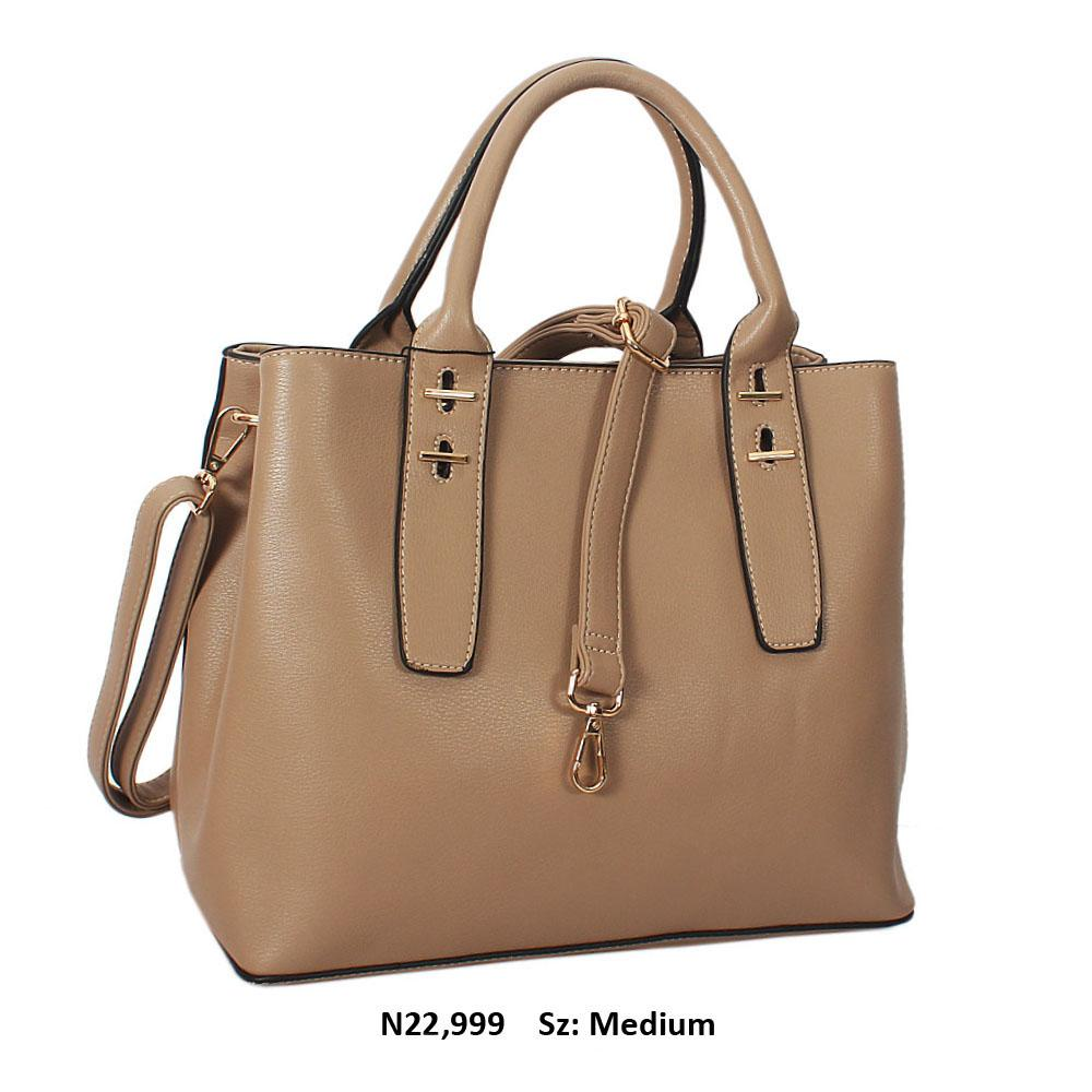 Beige Lorraine Leather Tote Handbag
