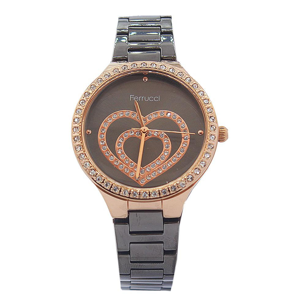 Ferrucci Love Face Studded Black Vintage Ladies Watch
