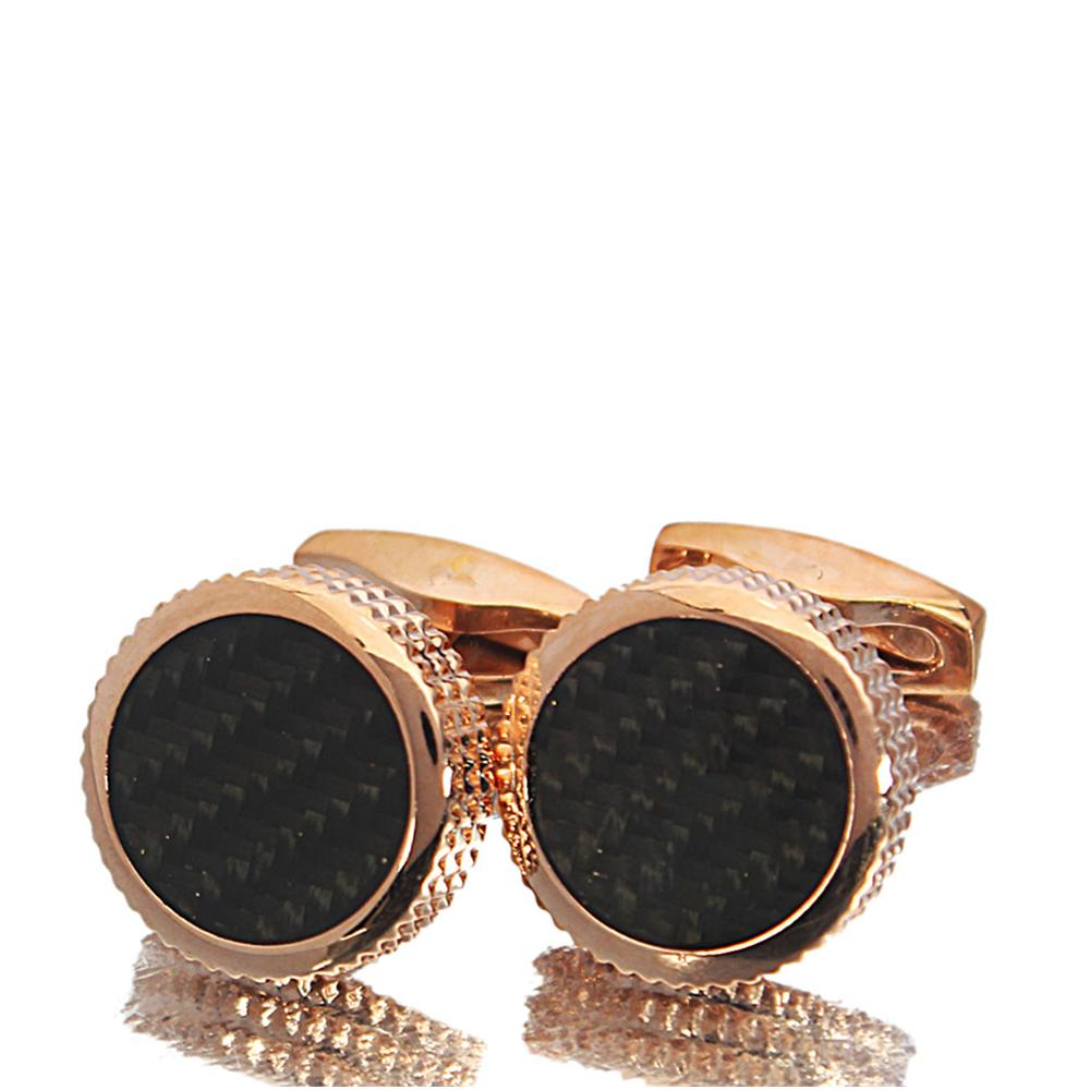 Rose Gold Black Ceramic Stainless Steel Cufflinks