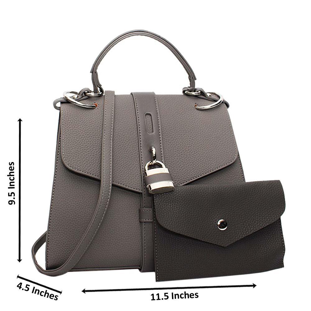 Gray Clara Leather Medium Top Handle Handbag