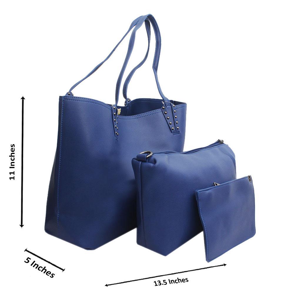 Blue Leather Medium 3 in 1 Handbag