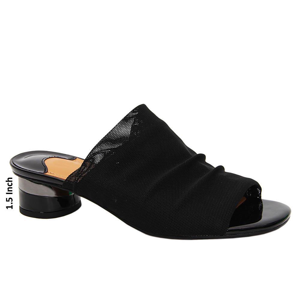 Black Elliott Netty Stretch Fabric Low Heel Mule