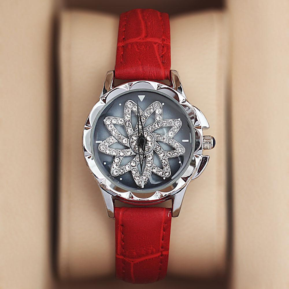Silver Red Crystal Studded Leather Spinners Ladies Watch