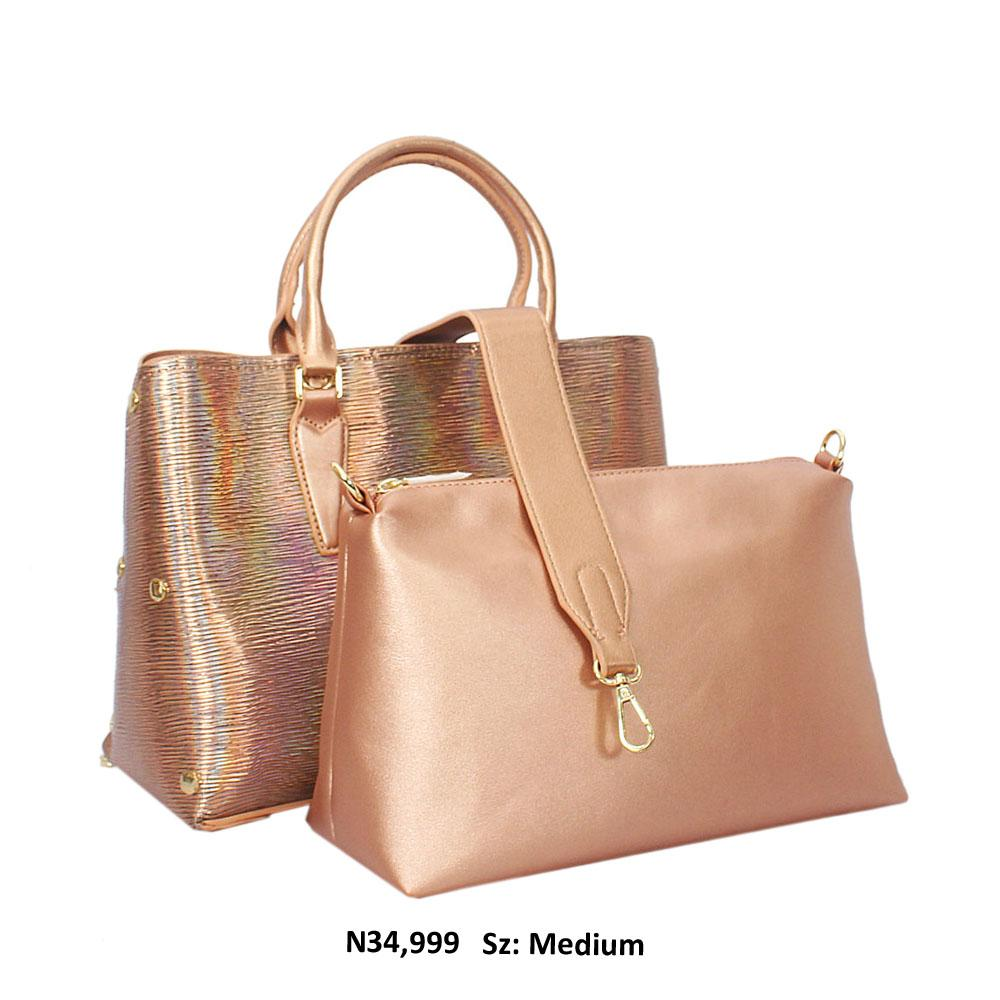 Beige 2-in-1 Shimmering Leather Tote Handbag