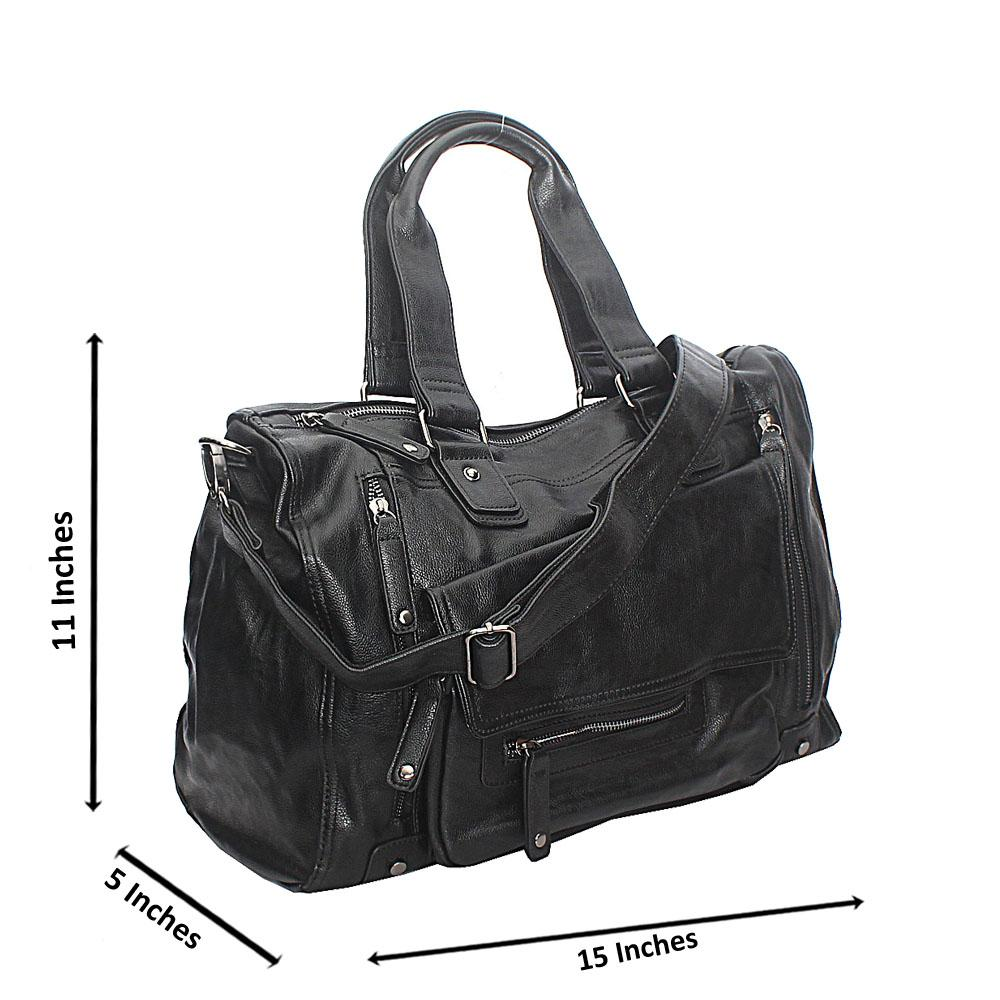 Estrella Black Zip Styled Cassania Leather Bag