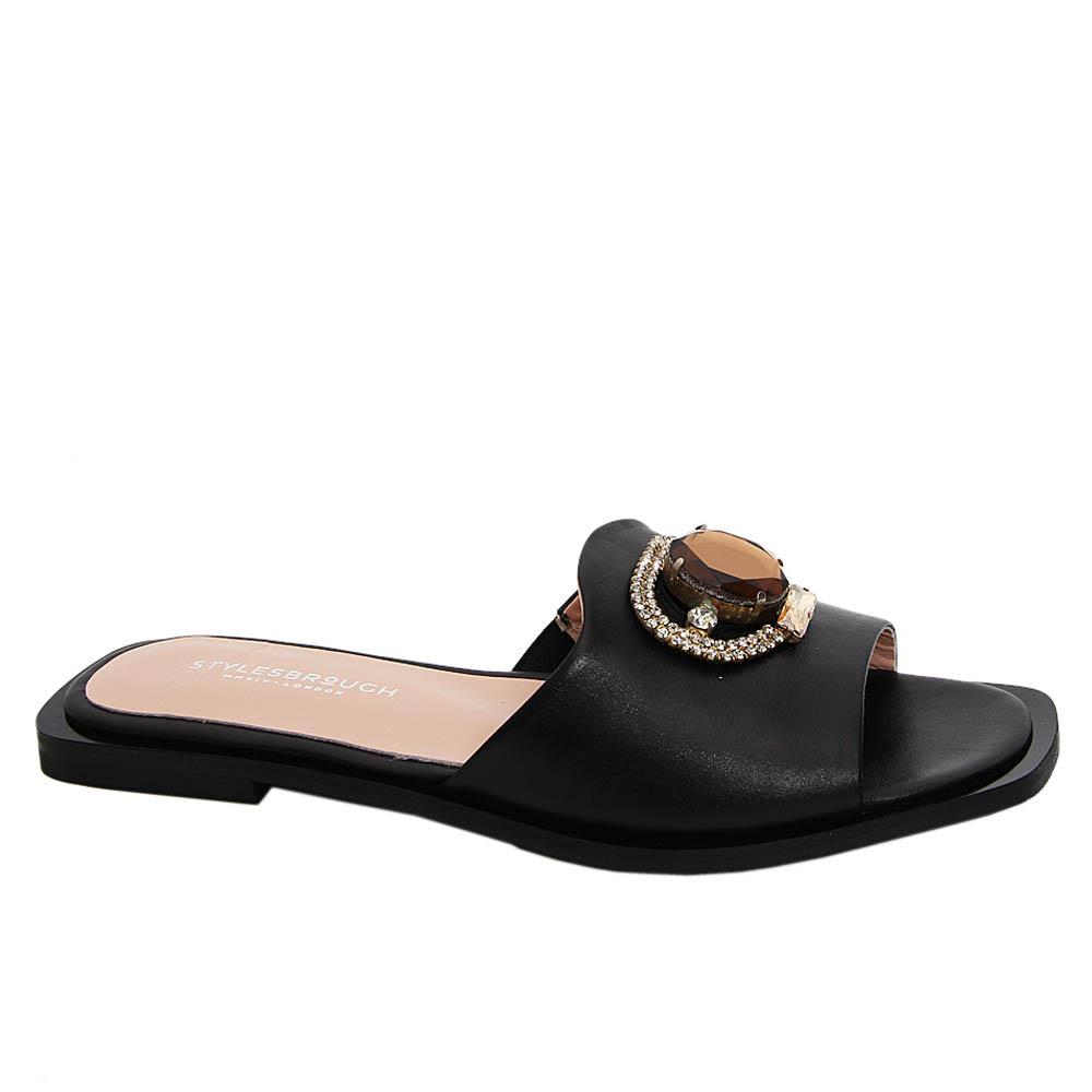 Black Aretha Tuscany Leather Women Flat Slippers