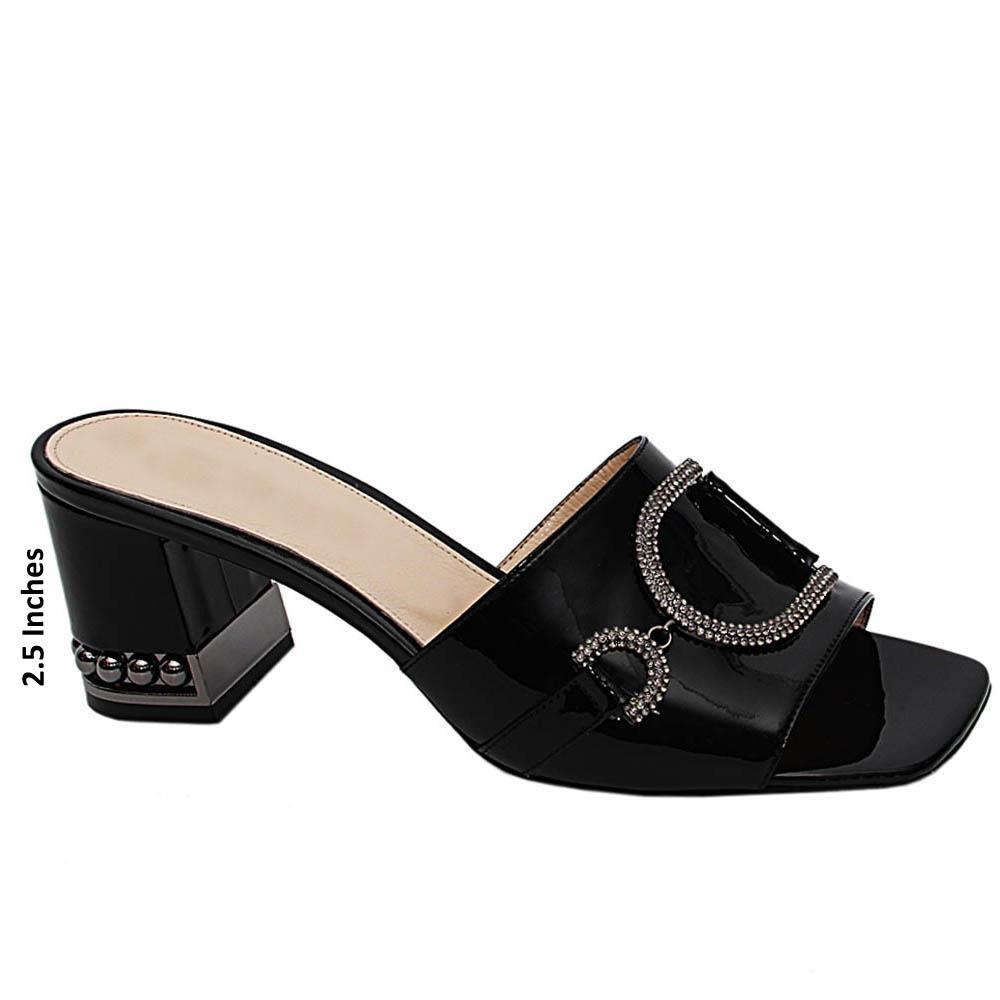 Black Sofia Patent Italian Leather Mid Heels Mule