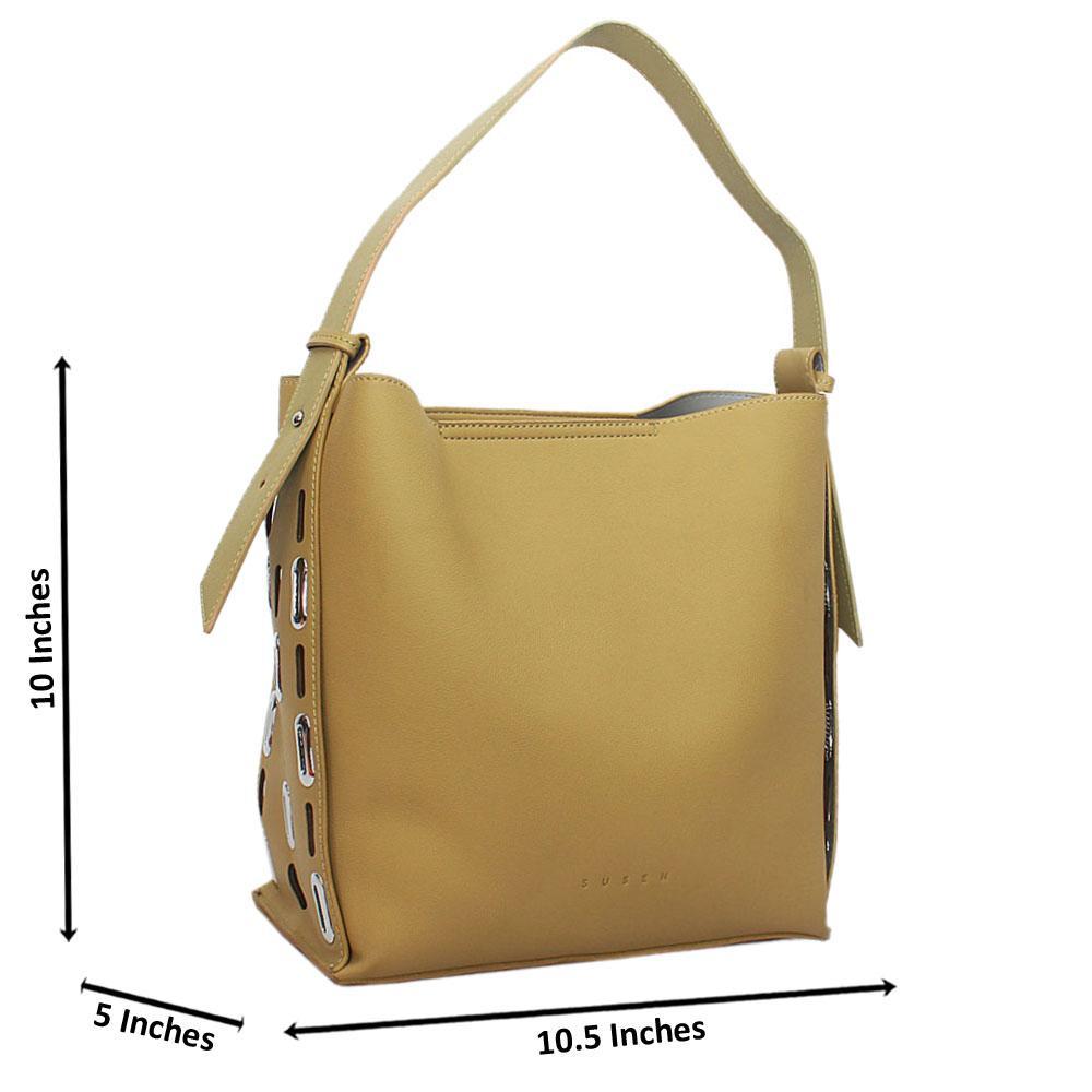 Susen Lemon Green Leather Shoulder Handbag
