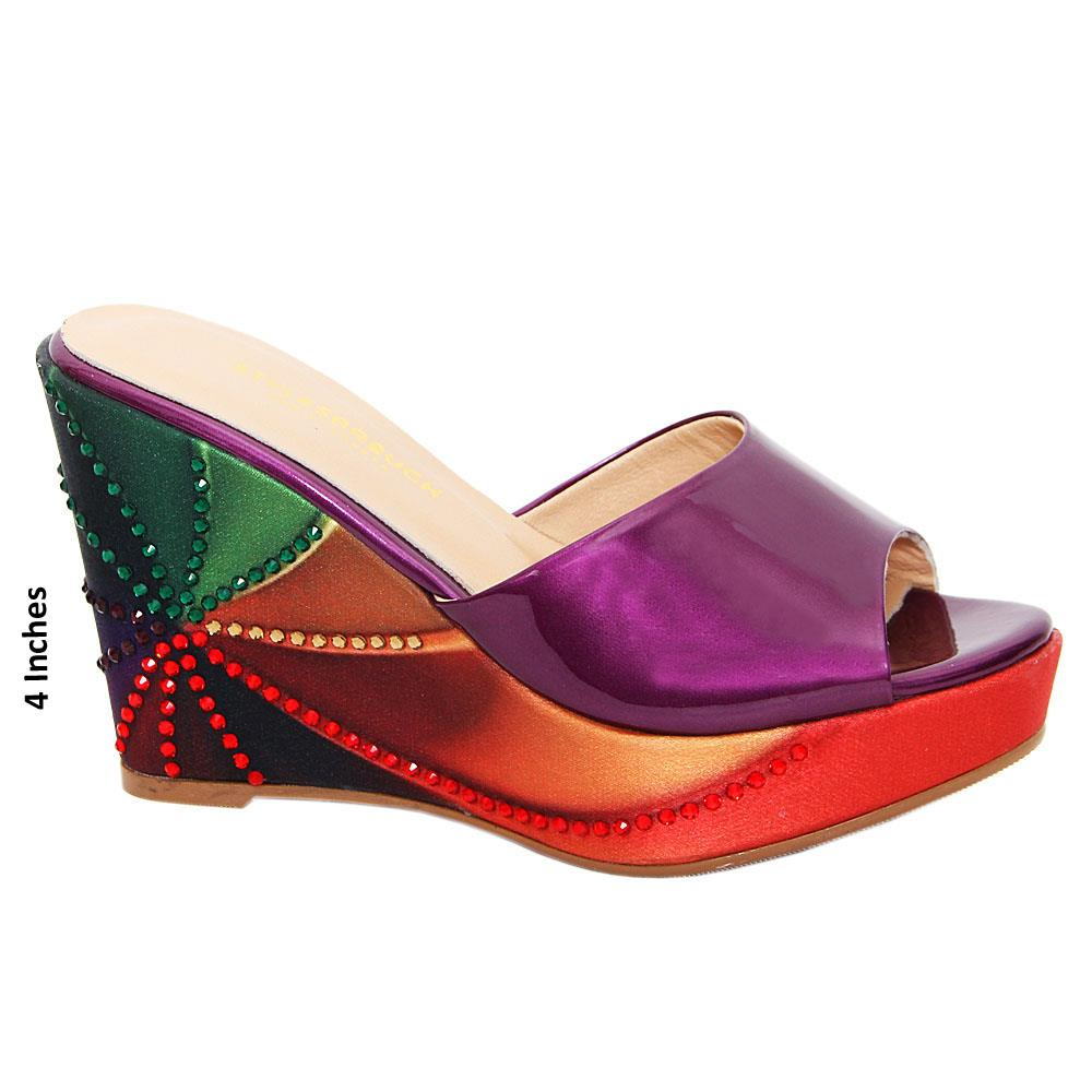 Purple Terza Mix Studded Patent Italian Leather Wedge