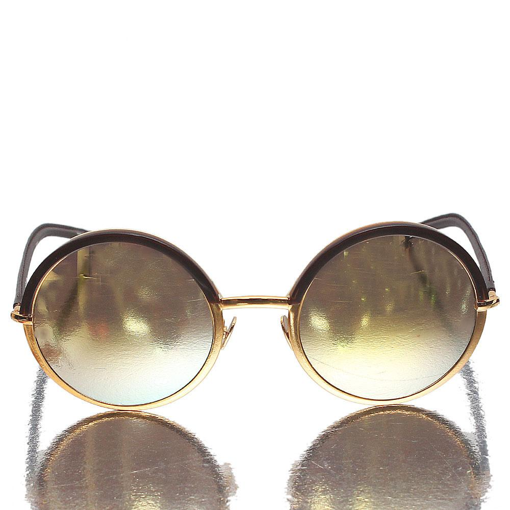 Coffee Brown Round Eye Gold Polarized Lens Sunglasses
