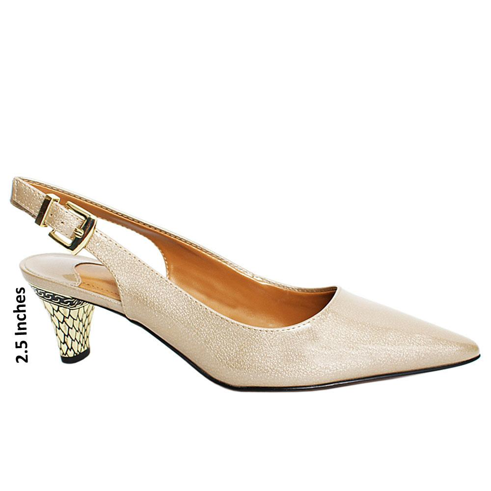 Pearl Beige Dollar Patent Leather Slingback Heel