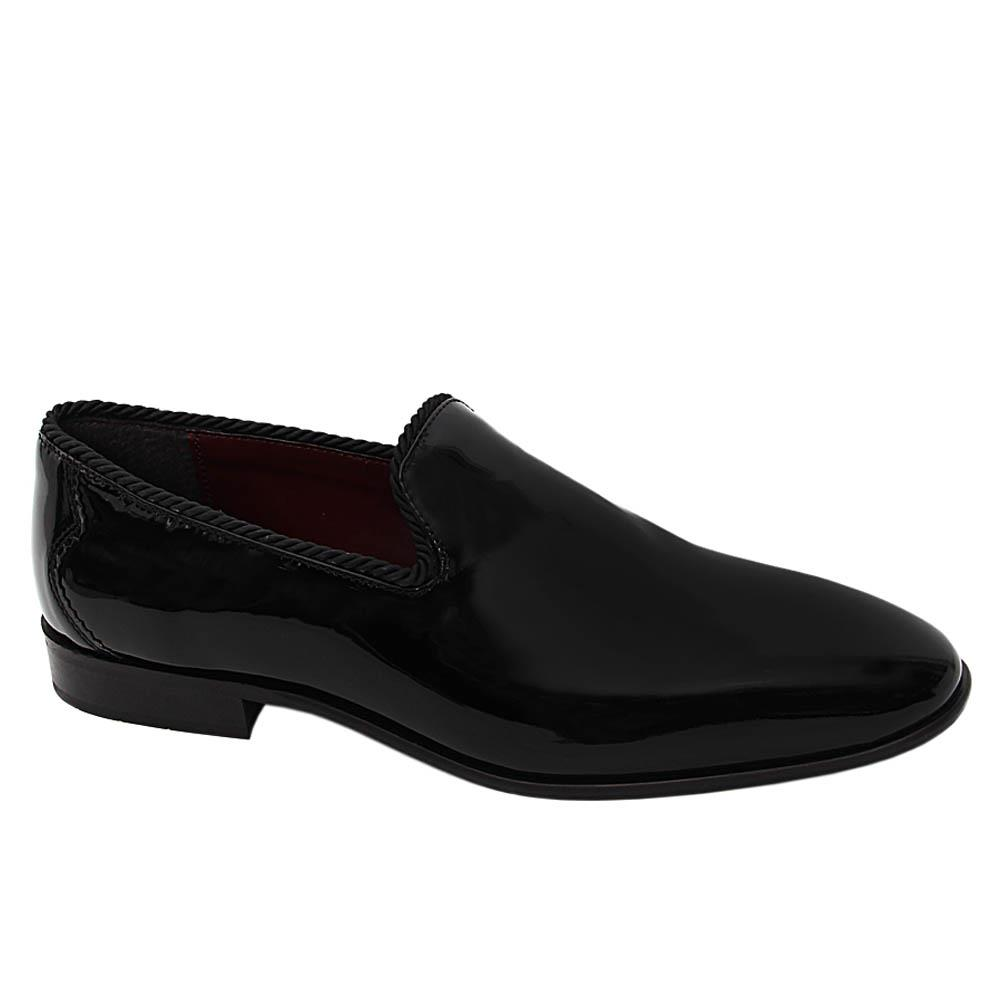 K Geiger Black Mark Ray Patent Leather Loafers