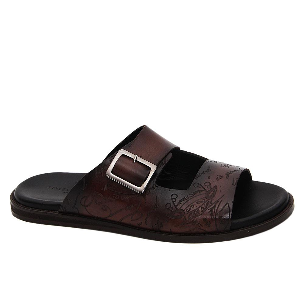 Coffee Julio Caesar Italian Leather Slippers