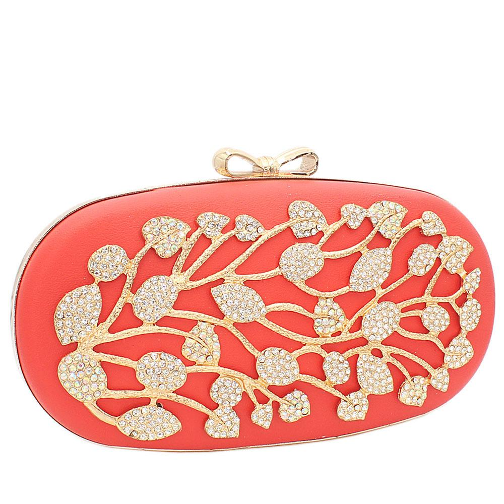 Peach Ariel Gold Studded Leather Clutch Purse