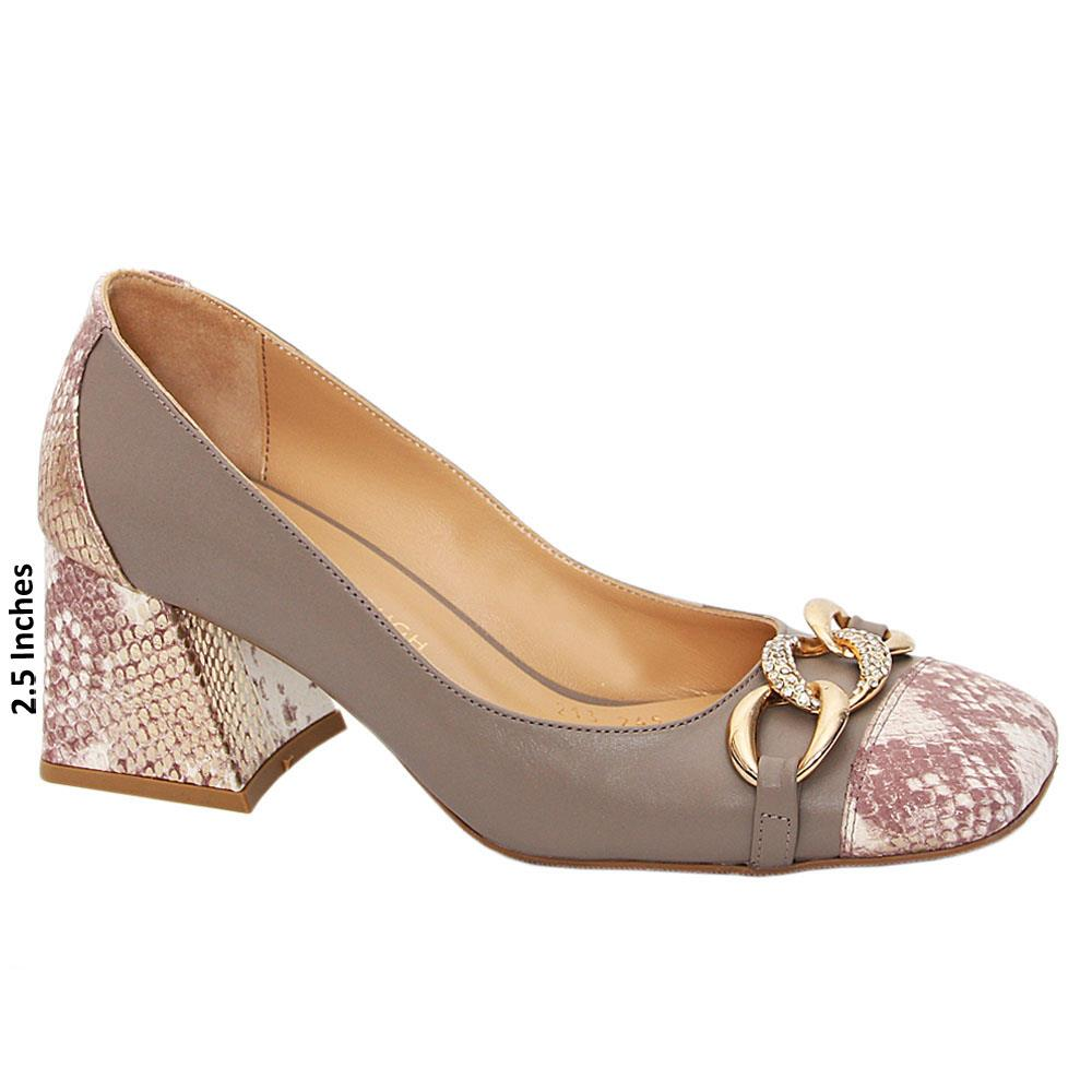 Beige Mix Aurelia Tuscany Leather Mid Heel Pumps