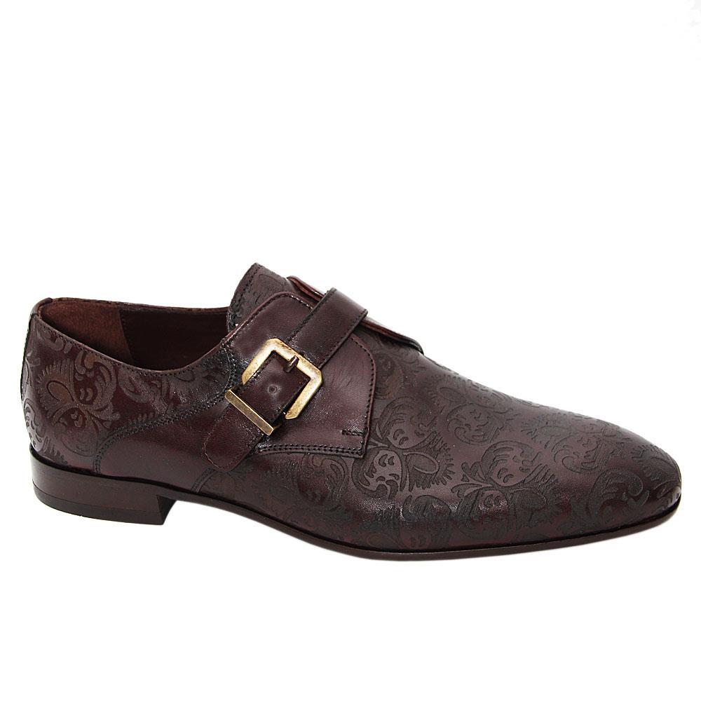 Coffee Oscar Embossed Italian Leather Monk Strap Shoe