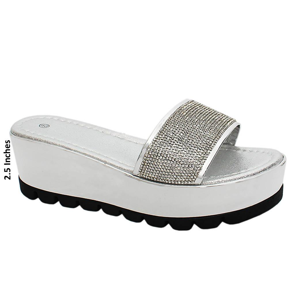 Silver Nancy Studded Leather Wedge Heels