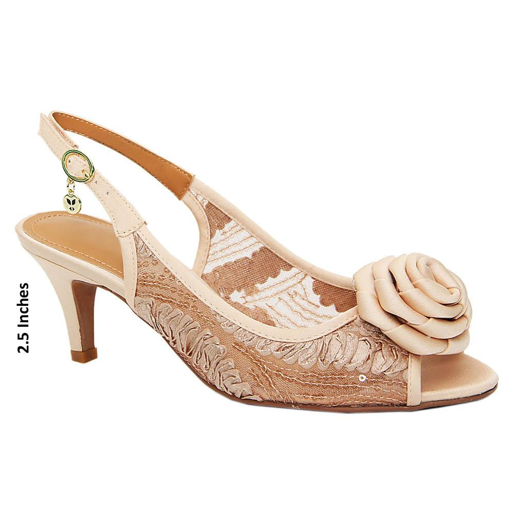 Cream Diana Satin Fabric Mid Heel Sandals