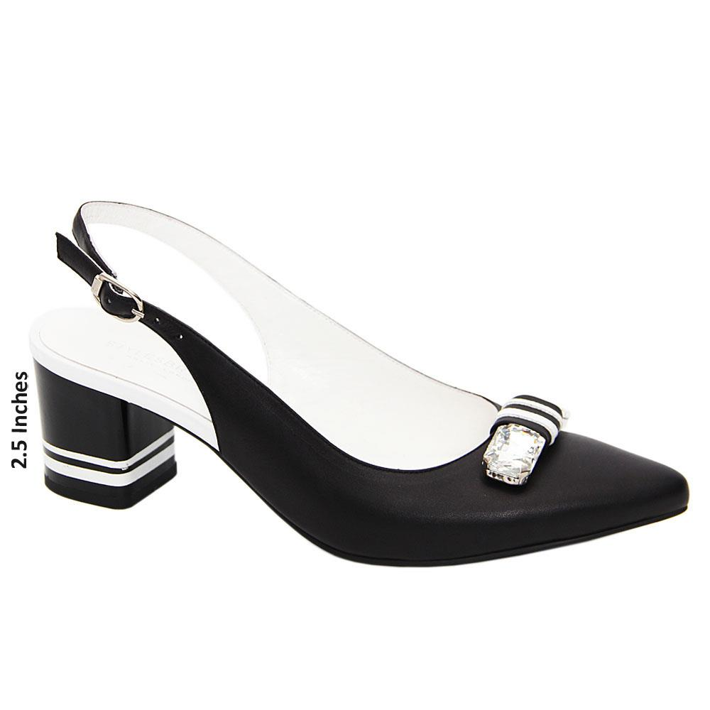 Black Claire Pearl Studded Tuscany Leather Mid Heel Slingback Pumps