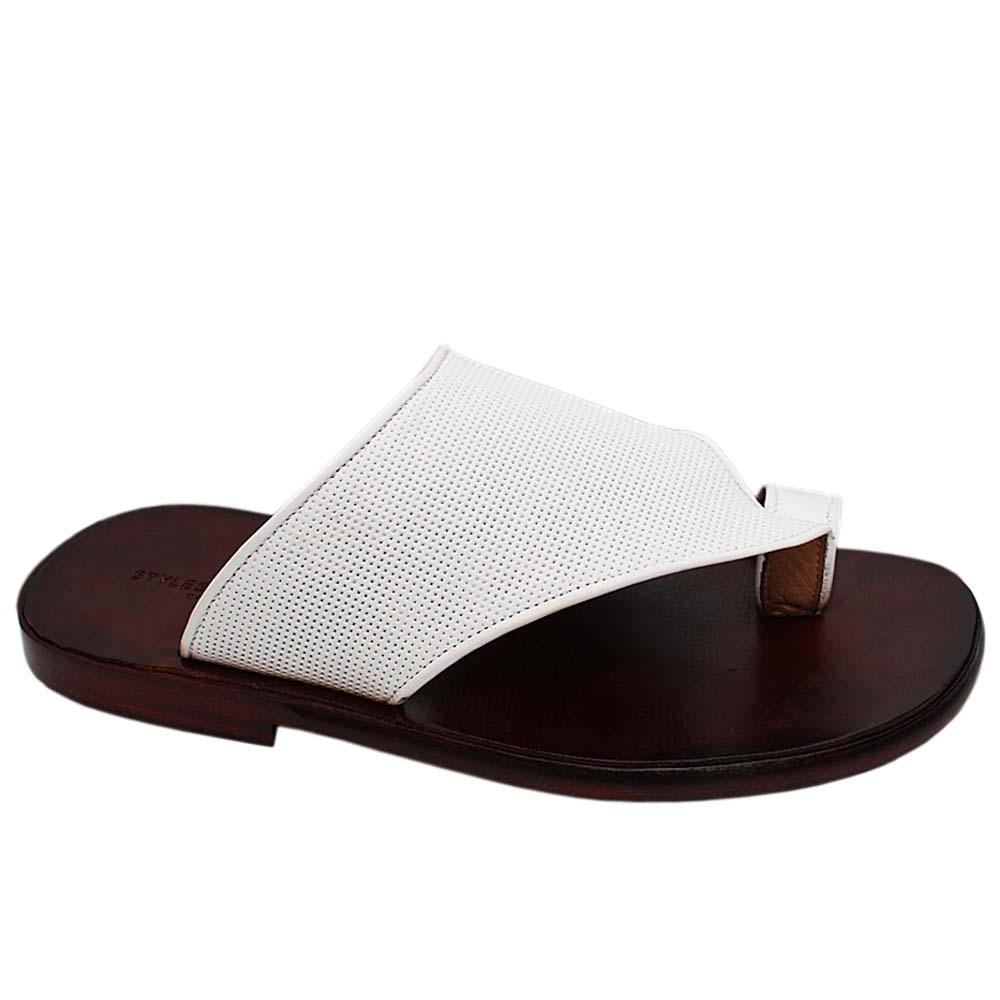 White Santorini Italian Leather Toe-Loop Men Slippers