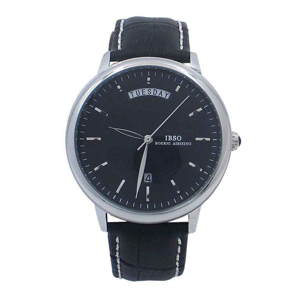 Safari Silver Black Croc Leather Watch