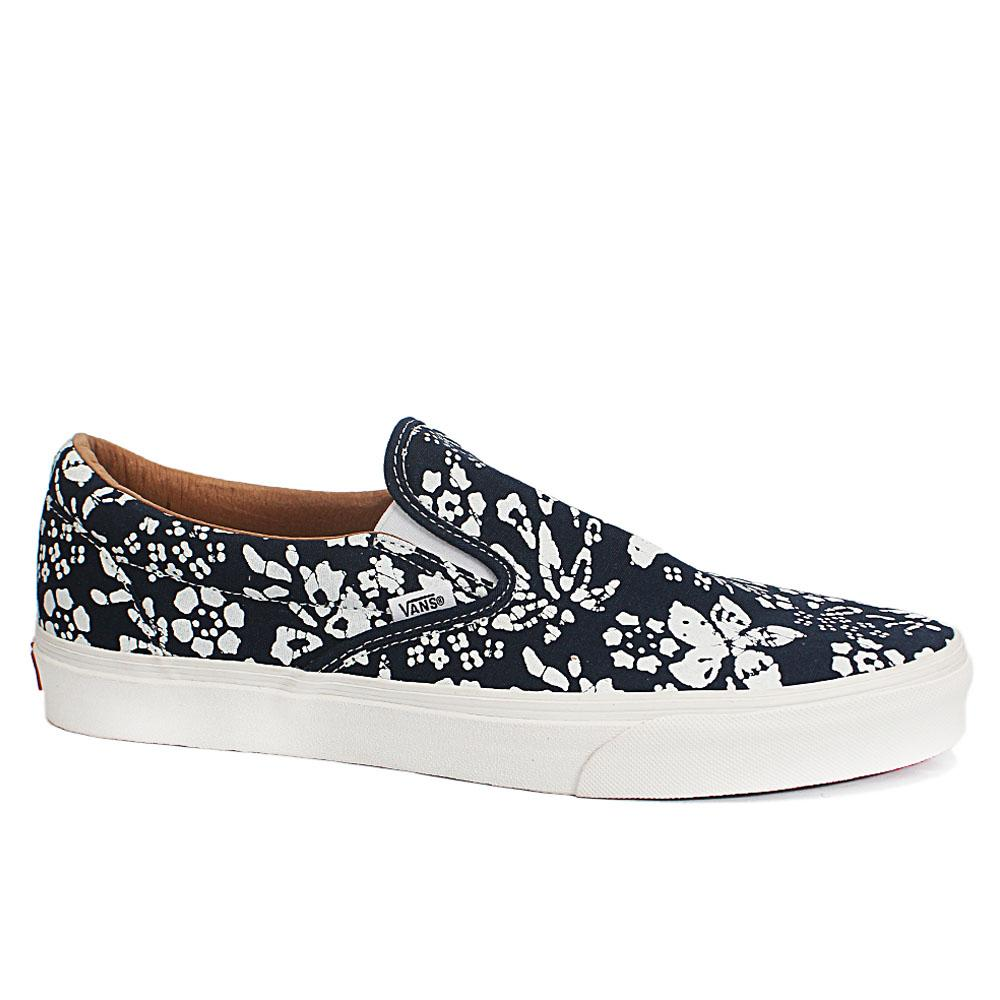 Sz 47 Vans Off The Wall Navy White Floral Fabric Sneakers