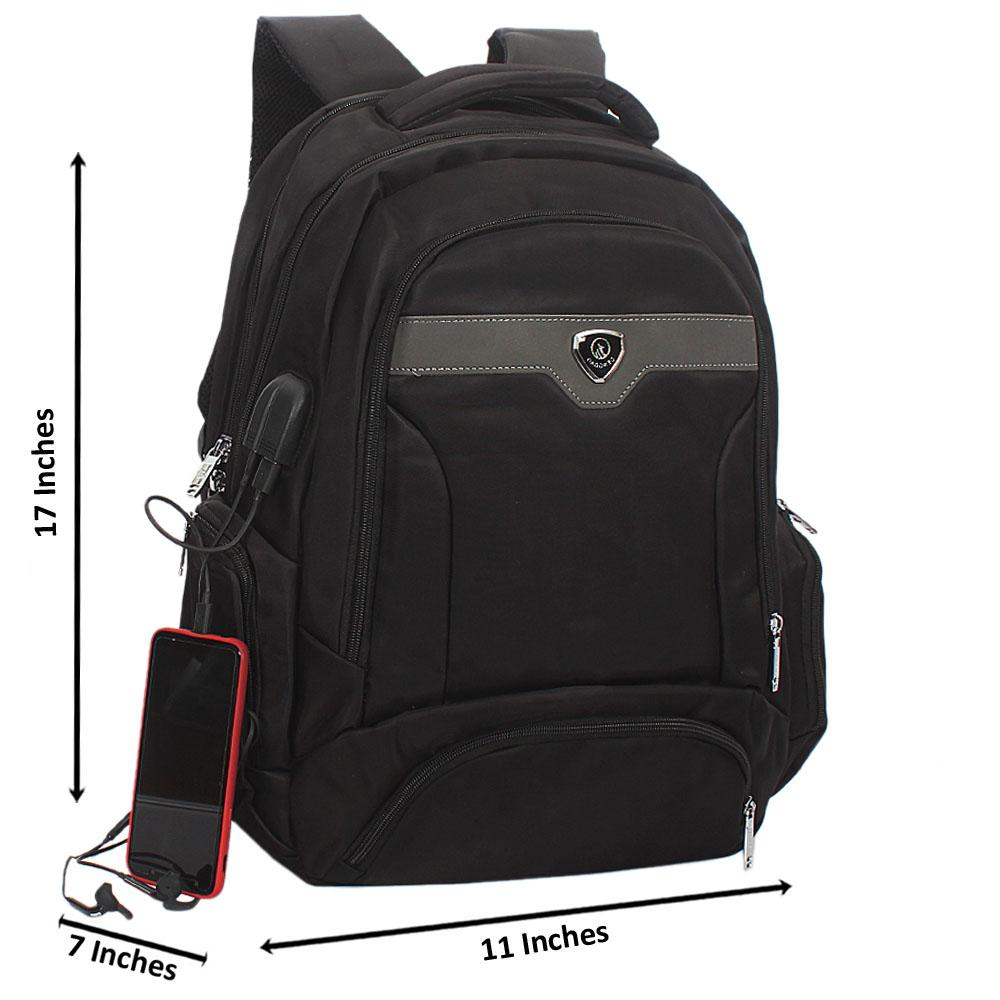 Black Waterproof Fabric Laptop Backpack Wt USB  and Audio Connector