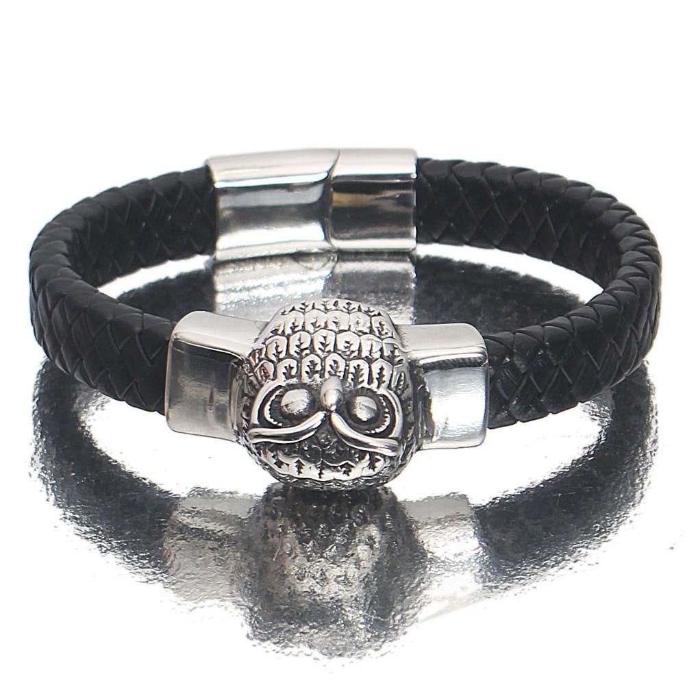 Silver Black Skull Leather Bracelet