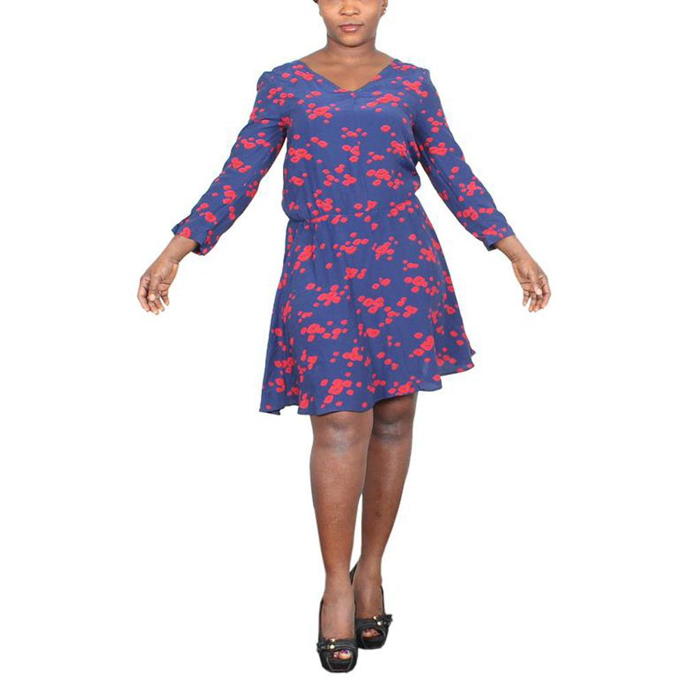 M & S Limited Collection Navy-Red Mix Ladies Dress-UK6