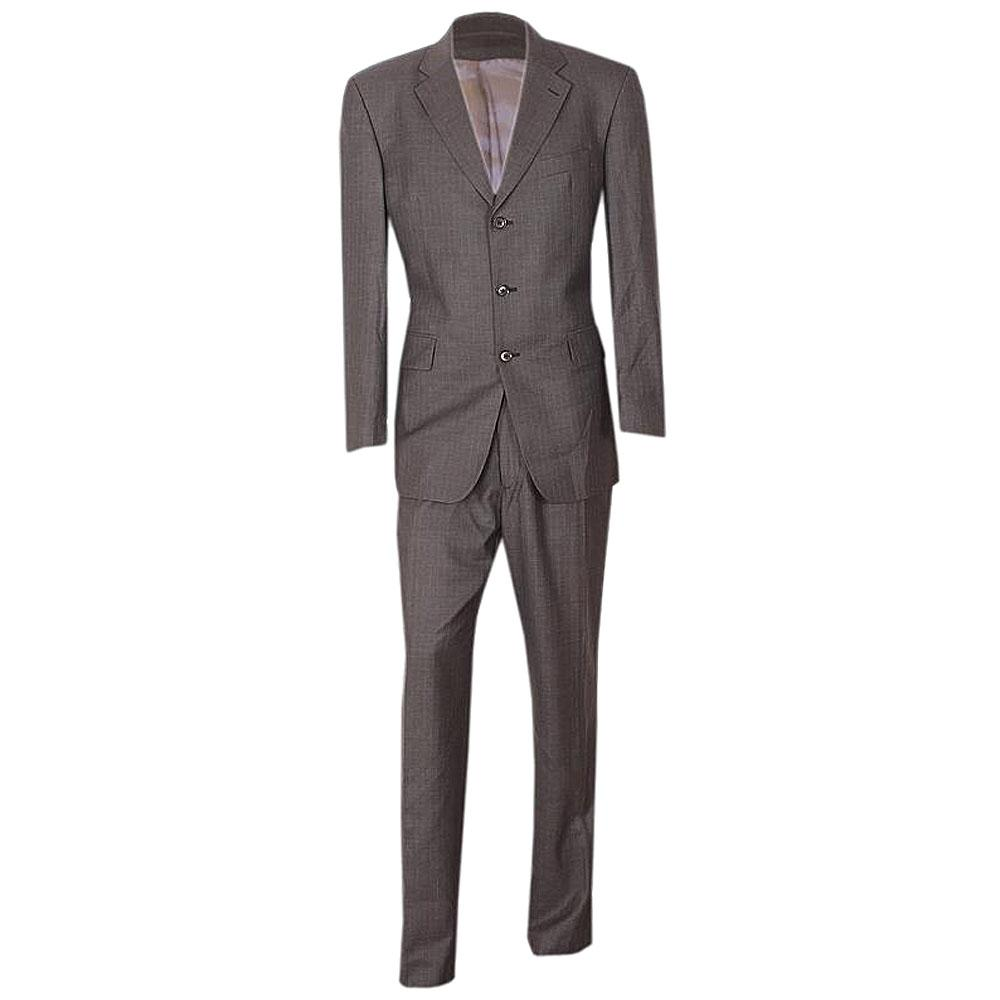Gray Striped Super Wool Men Suit 40R