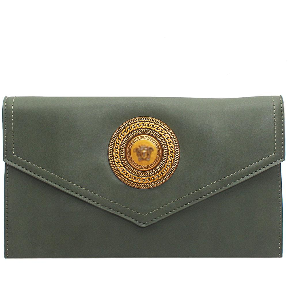 Green Adora Leather Flat Purse