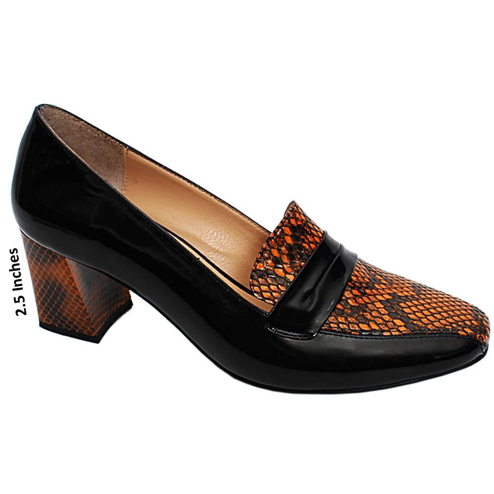Black Sonia Snake Skin Patent Italian Leather Block Heel Pumps