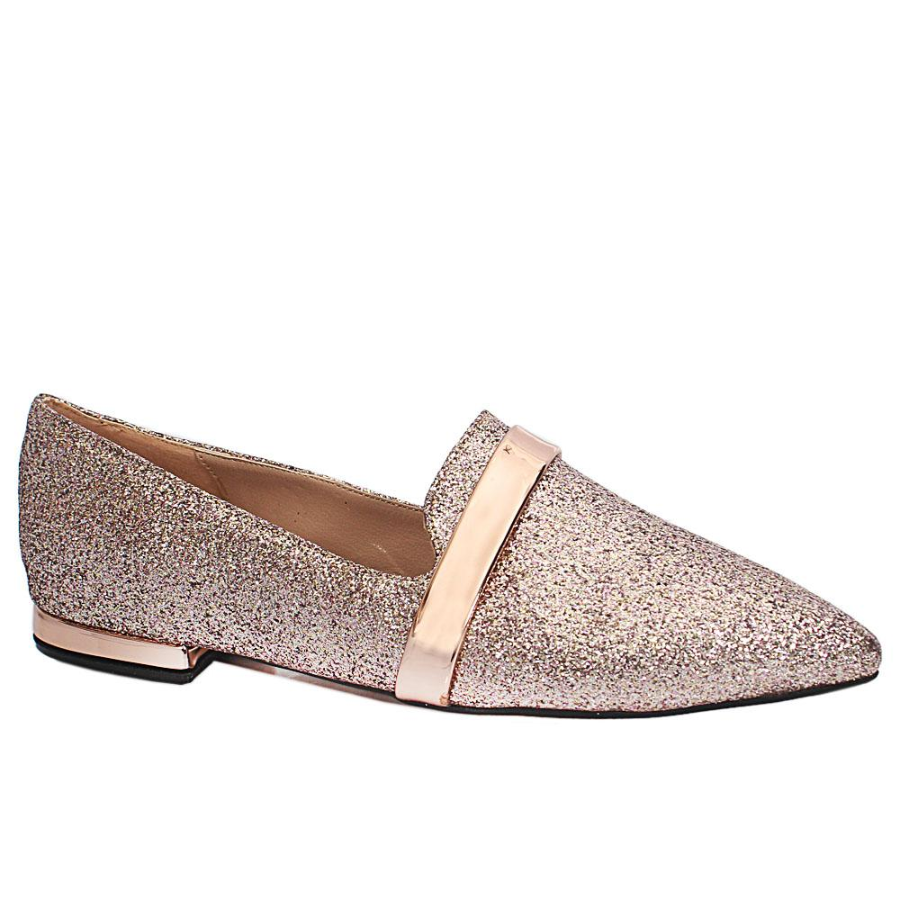 Rose Gold Shimmering Leather Pointed Toe Flat Shoes