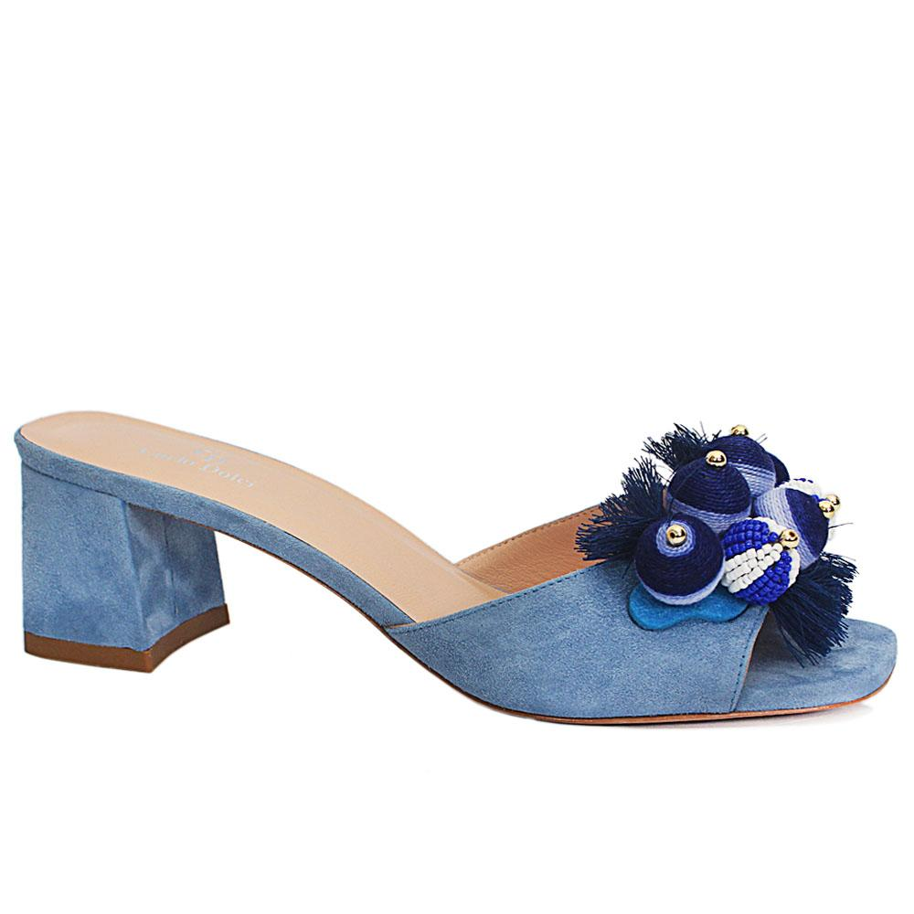 Carlo D Blue Suede Leather Mule Sandals