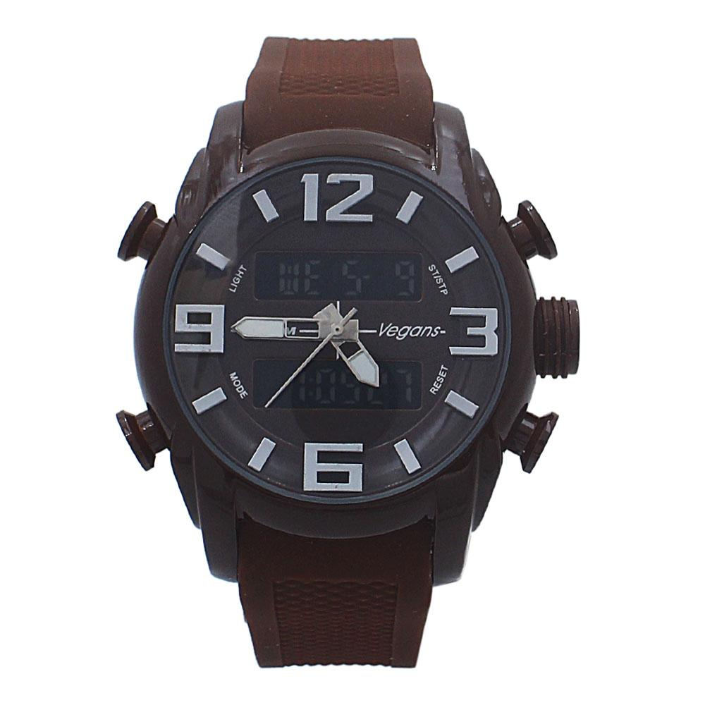 Brown Rubber 5 ATM Water Resistant Analog Digital Watch