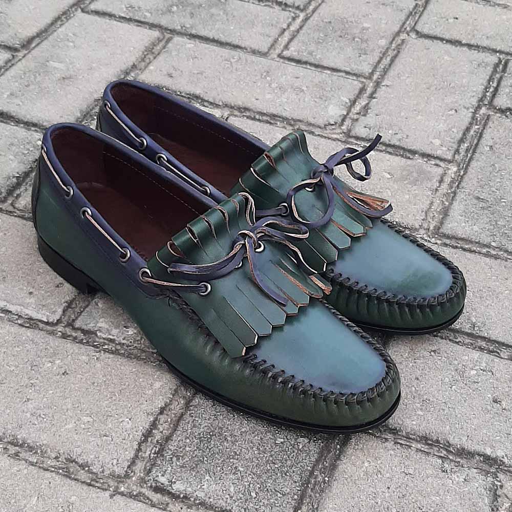 Green Yesil Alcobe Italian Leather Men Fringe Loafers