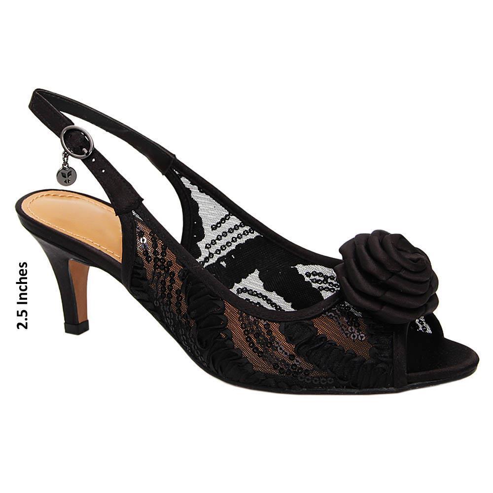 Black Diana Satin Fabric Mid Heel Sandals
