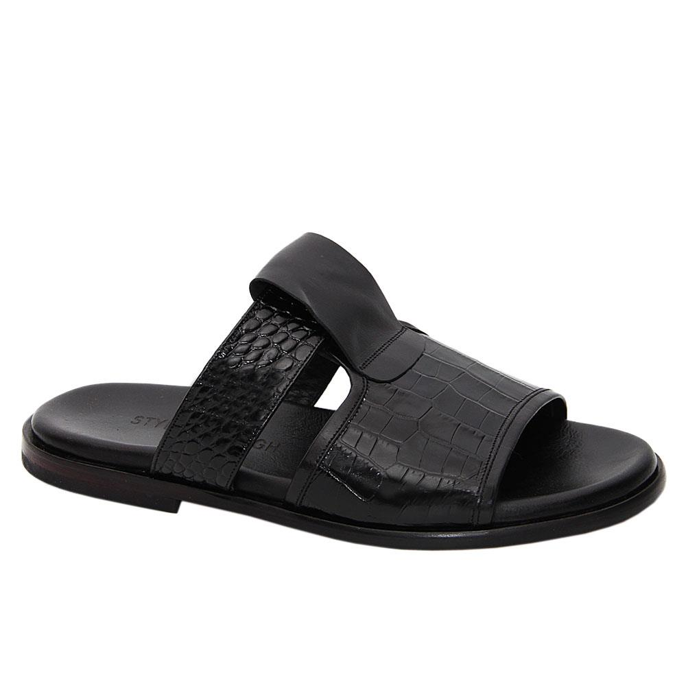 Black Constantino Italian Leather Slippers